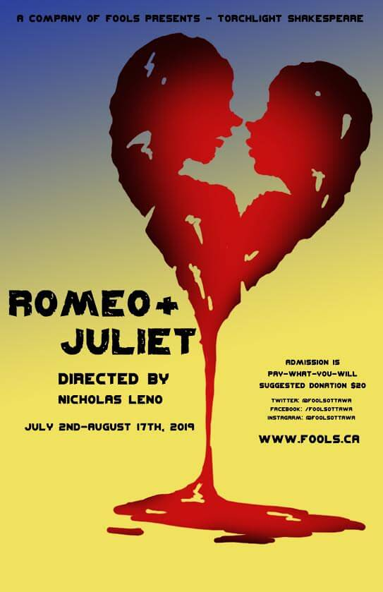 Poster of A Company of Fools Torchlight Shakespeare for 2019:  Romeo and Juliet, running from July 2 to August 17.  www.fools.ca