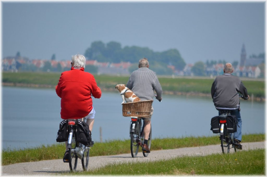 three seniors riding bicycles along a pathway along a body of water.