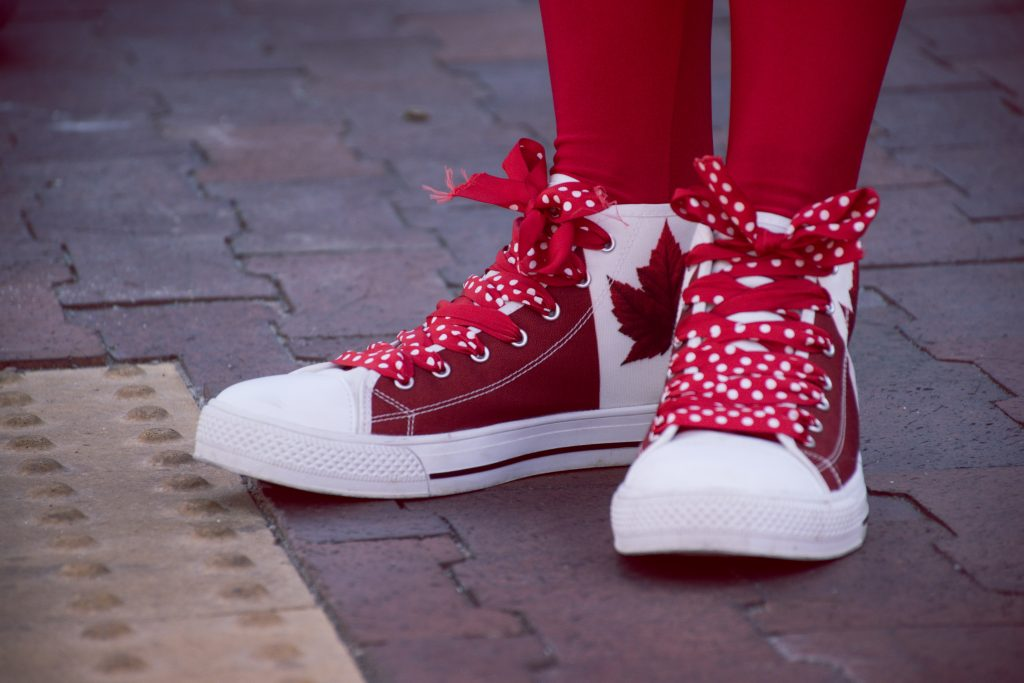 a pair of red and white sneakers with canada flags on them