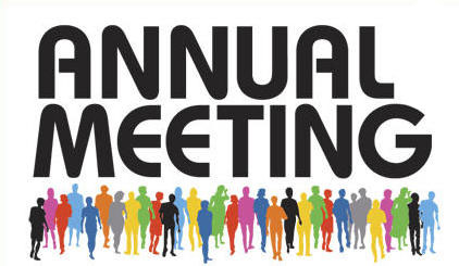 "The words ""Annual Meeting"" with silhouettes of different colours standing below."