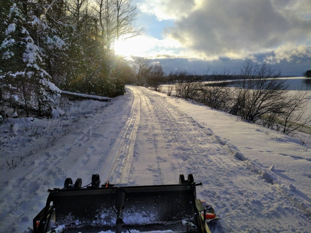photo showing the trail after the grooming machine passes.