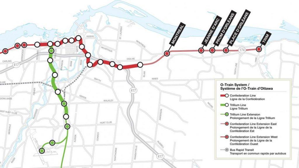 carte du réseau O train