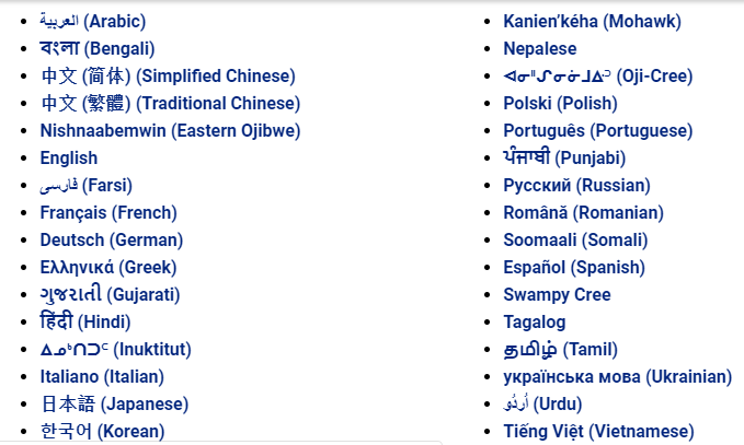 Image of all languages available on OPH multingual site