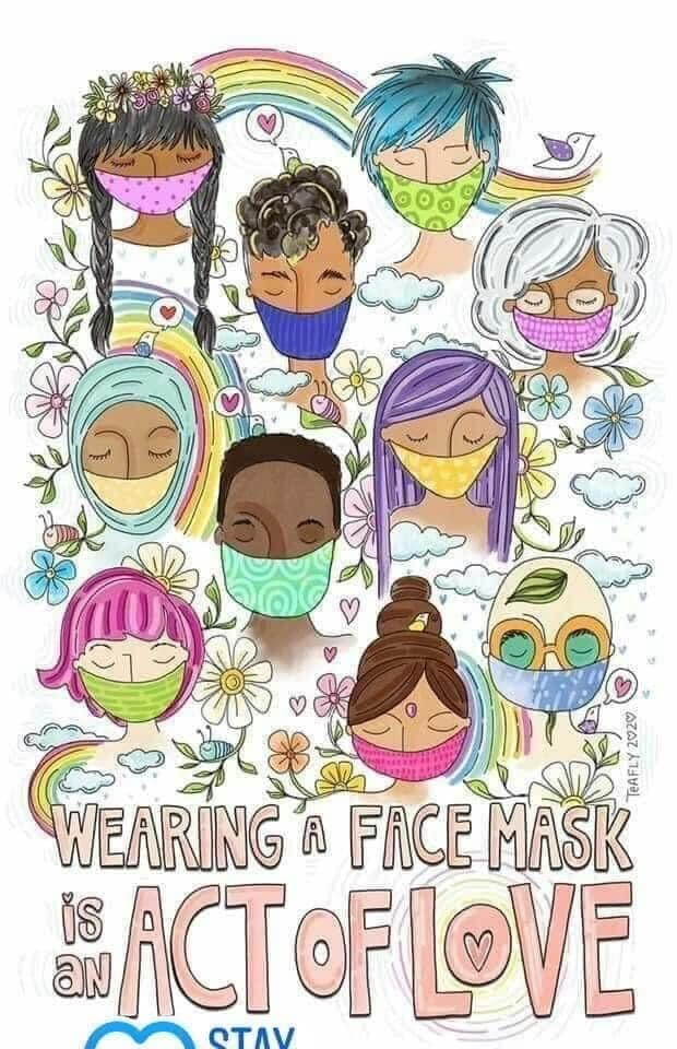 artist drawing showing people of different cultures wearing a face mask www.teafly.com
