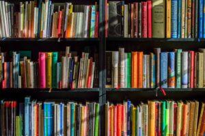 image of colourful books on bookshelves