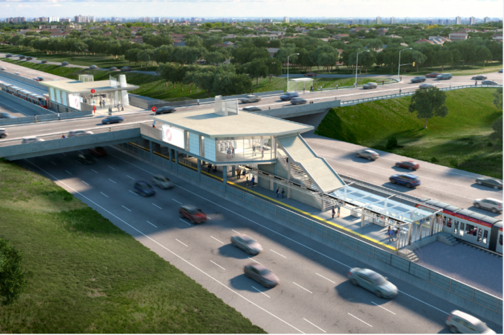 artist rendering of what the Jeanne d'Arc LRT station will look like