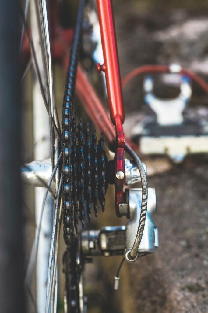 close up of rear wheel gears on a bike